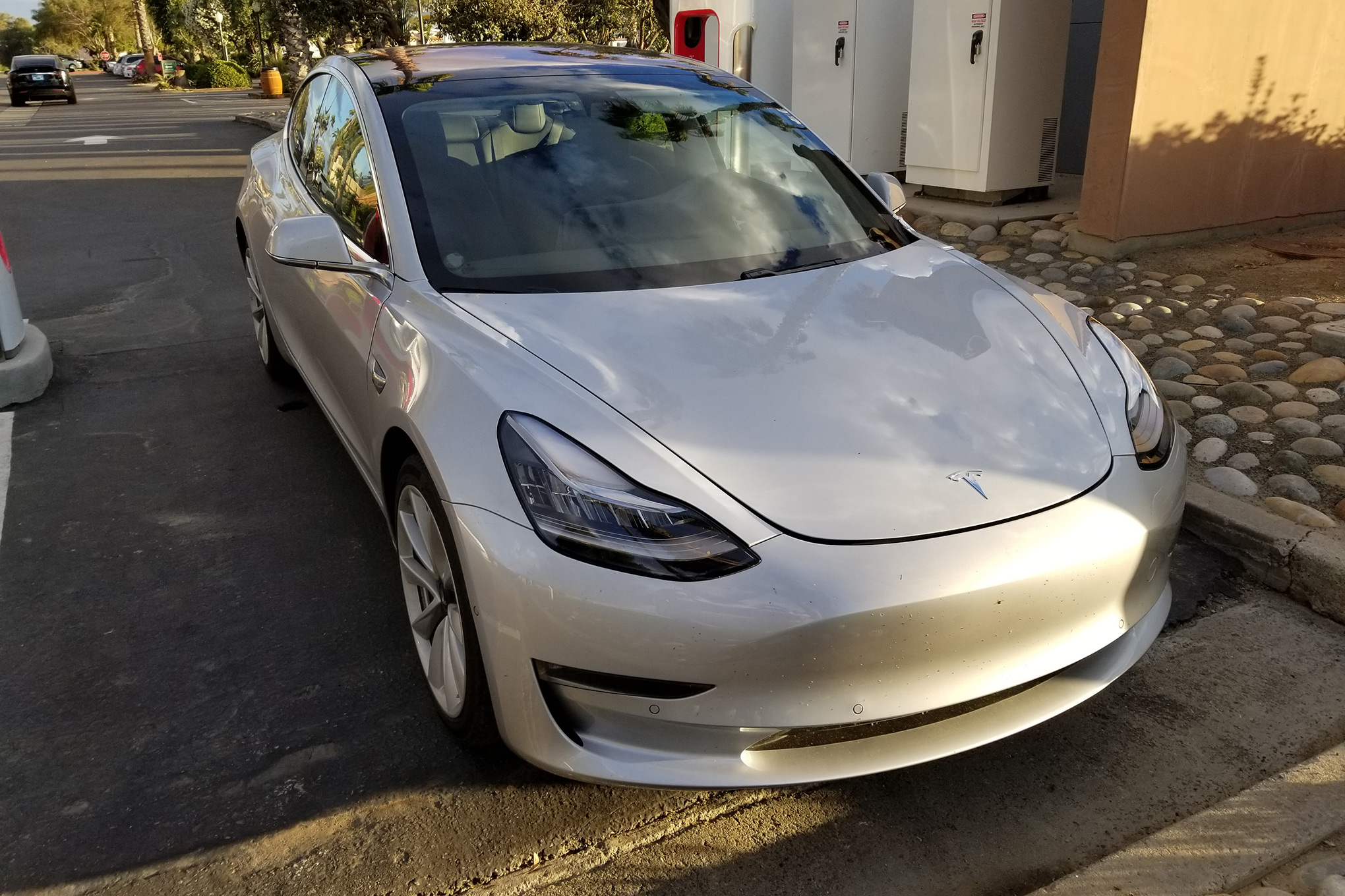 Tesla Model 3 at Supercharger Front